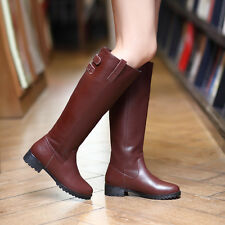Womens Leather Pull On Buckle Strap Block Heels Knee High Riding Boots Plus Size