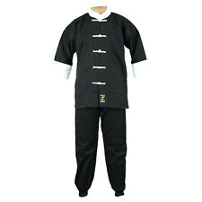 Playwell Kung Fu Uniform Black/White Gi Adults Martial Arts Suits Cotton Tai Chi