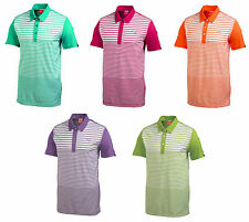 PUMA Golf Mens Rickie Fowler YD Yarn Dye Stripe Block Polo Golf Shirt Blue Red