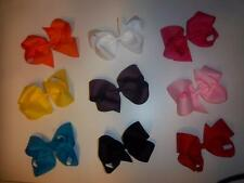 "LOT OF 5 -- LARGE girls 5"" inch classic four loop boutique hair bow 27 COLORS"