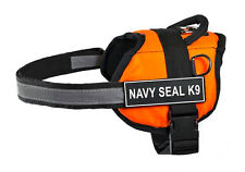 DT Works Orange Working Dog Harness with Velcro Patches NAVY SEAL K9
