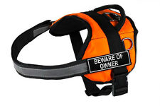 DT Works Orange Working Dog Harness with Fun Velcro Patches BEWARE OF OWNER