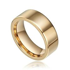 8mm Gold Tungsten Carbide Ring High Polished Promise Wedding Band Men's Jewelry