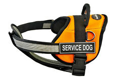 DT Works with Chest Support Orange Dog Harness and Velcro Patches SERVICE DOG