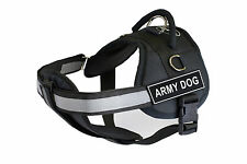 DT Works Chest Support Dog Harness with Velcro Patches ARMY DOG