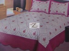 3-PIECE EMBROIDERY QUILT SET TWIN/QUEEN/KING - Hot Pink - 100% MICROFIBER NEW