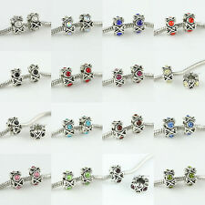 Top Crystal Alloy Spacer Large Hole Charm Beads Fit European Bracelets DIY 11mm