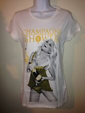 TITS TWO IN THE SHIRT CHAMPAGNE SHOWER WHITE TEE WOMEN LADY L XL NEW