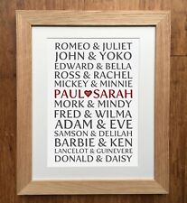 Personalised Couples - Print - Christmas Gift - Wedding Gift - Valentine -