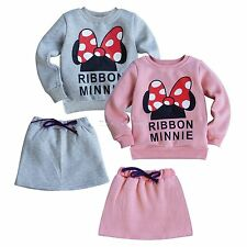 Minnie Mouse 2PCs Girls Kids Warm Outfit Bowknot Top Sweatshirt+Skirt Dress 2T-6