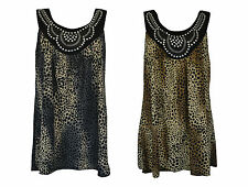 NEW LADIES WOMEN LEOPARD STUD SLEEVELESS VEST SMOCK TOP T SHIRT PLUS SIZE 16-28