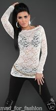 SEXY LONG SLEEVED LACE TOP. UK 8/10 10/12 EU 36/38 38/40 S/M M/L.