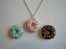 Cute Kitsch Fimo Doughnut Donut Necklace Free Gift Bag