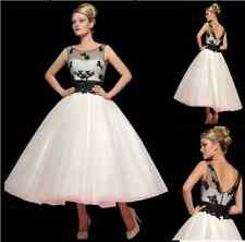 2014 Fashion Tea Length wedding dress Bridal Gown Ball Gown Prom Dress Size 6-16
