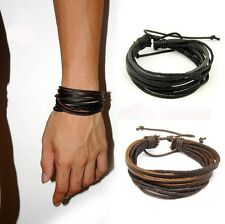 Mens Wrap Multilayer Genuine Leather Bracelet with Braided rope Fashion Jewelry