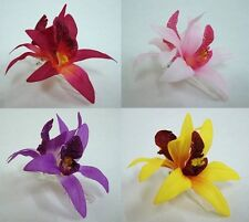 Orchid flower Hair Clip 4.00 Inches. Choose the color