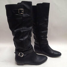 Womens Motorcycle Riding Buckles Knee High Zip Long Boots Size 8005#
