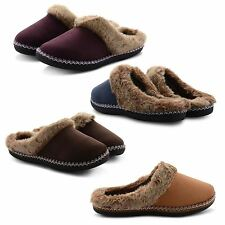 NEW WOMENS COOLERS SLIP ON MULE FUR LINED WARM COMFY INDOOR SLIPPERS SIZES UK
