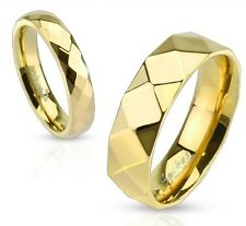 Gold IP Stainless Steel Diamond Faceted Ring