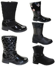 GIRLS BLACK BACK TO SCHOOL SHOES KIDS WINTER FORMAL CASUAL PARTY BOOTS SIZE 6 -2