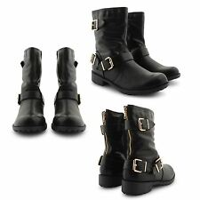 NEW WOMENS FAUX LEATHER LOW HEEL BUCKLE STRAP STYLISH BIKER BLACK BOOTS SHOES