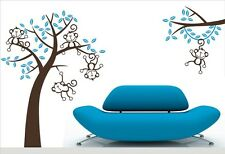 LARGE SIZE 5 Monkey Tree #5 Wall Art Stickers Kids Nursery Vinyl Decals DIY