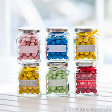 35 mini 110ml square glass jars with silver lids AND your choice of stickers!