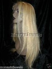 Silk Top Base Human Hair Remi Remy Full Lace Wig Wigs #60/24 Blonde Straight