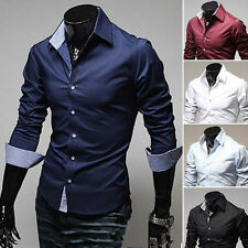 Mens Business Wedding Stylish Casual Shirt Slim Fit Dress Shirts Solid Hot Sale