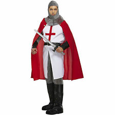 Adult St Georges Knight Fancy Dress Medieval Mens Crusader Costume England King
