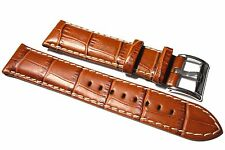 Premium Tan Darlena Alligator Grain leather watch strap with white stitching.