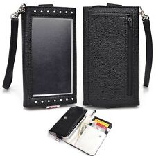 Bicast Leather Smartphone Wristlet Wallet with ID Card Slots for HTC - Black
