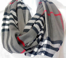 Fashion Plaid Stripes Infinity Scarf Cashmere Blend Unisex Circle Scarves USA S