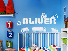 Personalised Name Boys Wall Art Sticker - Lorry, Trucks, Tractor, Digger, Cars