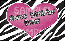 ZEBRA PRINT PINK HEART Edible Cake Topper Frosting Sheet Image PERSONALIZED!