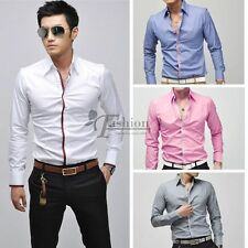 Men's Fashion Casual dress shirts Slim Fit Long Sleeve T-Shirts Tops Blouse SS