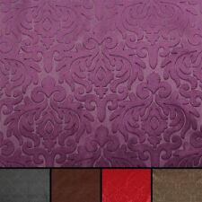 EMBOSSED FLORAL DAMASK DRESS CUSHION CURTAIN & MATCHING PLAIN VELVET FABRIC