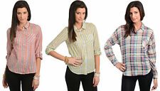 Hot 2014 Womens Sexy Plaid Striped Slim Fit Top Blouse Button Down Shirts