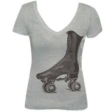 Women's Annex Clothing Skate Vintage Roller Derby V Neck T-Shirt Heather Gray