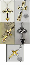 Men's Cross Pendant with Chain Necklace 316L Stainless Steel Brand New