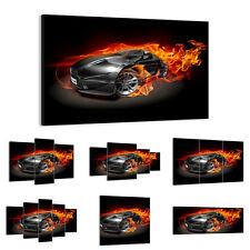 47 Shapes Canvas Picture Print Wall Art Racing Car Cart Sport Fire Flames 2656 E