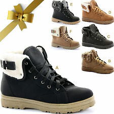 LADIES WOMENS SHEARLING FUR LINED LINING ANKLE ARMY COMBAT TRAINERS BOOTS SIZE