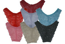 SEXY LADIES LACE BRIEFS LOT KNICKERS PANTIES 8 10 12 - FREE THONG WITH PACK OF 6