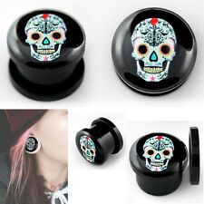 Pair Acrylic Double Screw Fit Logo Sugar Skull Day Of The Dead Ear Plugs Gauges