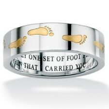 """Footprints in the Sand"" Ring Two-tone Gold Silver Stainless Steel Band SZ 5-13"