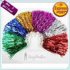 Adult Cheerleader Pom Pom Metallic Red Navy Blue Hot Pink Green Gold Silver 200g