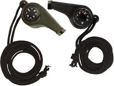 3-In-1 US Military Super Whistle - Compass Thermometer & Whistle - Black, OD