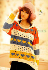 Fashion Women's Heart Loose Colorful Knit Hollow Out Blouse Top Sweater Coat New