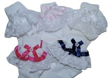Girls White or Ivory Bow Diamante Lace Frilly Socks 6 Sizes 0-3.5 *One Supplied*