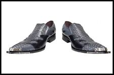 New Reduced Fiesso New Croco Print Pointed Leather Shoes Metal Tip Black FI6483